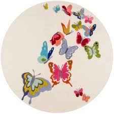 lil mo whimsy erfly ivory 5 ft x 5 ft indoor kids round area