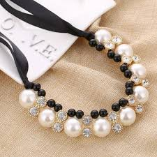 imitation pearl chokers necklace white black beads rhinestone ribbon necklaces pendants statement necklace for