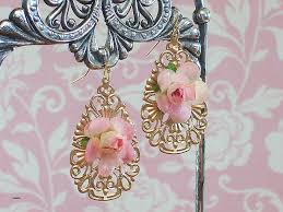 gold pearl chandelier earrings lovely dew kissed roses pink rose gold filigree teardrop earrings fl