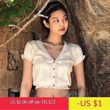 <b>Summer Korean Womens</b> Short Sleeve Tops Sexy V Neck Buttons ...
