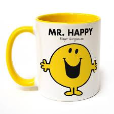 Smiley Face Coffee Mug Personalised Mr Happy Large Porcelain Colour Handle Mug Shop