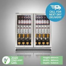 husky double door back bar undercounter display bar fridge chiller 186 litres