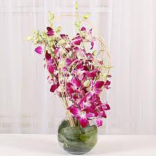 purple orchids vase arrangement hyderabad gifts