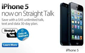 Straight Talk iPhone 5 4S and 4 available at Walmart all run on
