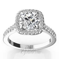 hand forged cushion halo engagement ring 1 3 ct t w