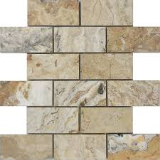 Natural Stone Kitchen Floor Tiles Shop Allen Roth Beige Honed Natural Stone Mosaic Subway Indoor