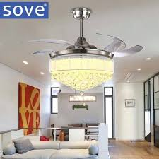retractable ceiling fan chandelier crystal inch modern led crystal chandelier fan lights living room folding fan