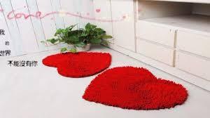 bold design ideas heart shaped bath mat red fluffy bedroom rug carpet floor love doormat 2pcs red chenille bathtub poconos