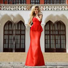 Ballkleider Red Elegant Evening Gowns Lace Mermaid Prom Dresses ...