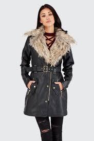 top fur collar pu trench coat