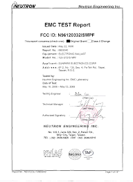 Sunpark Lighting 120332ismpf Electronic Ballast Test Report Nei Fcce 1