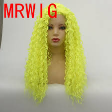 <b>MRWIG</b> Shiny Green Synthetic Glueless Front Lace Wig Middle Part ...