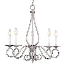 5 light pewter chandelier with white candle covers