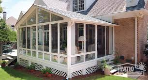 Enclosed deck ideas Backyard White Aluminum Frame Sunroom With Gable Roof Patio Enclosures How To Enclose Patio Porch Or Deck