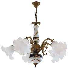 vintage limoges porcelain and murano glass chandelier pendant circa 1950 for