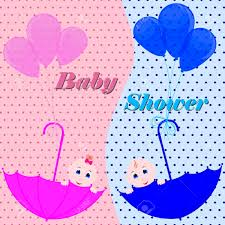 Baby Shower Invitation Cards Baby Shower Invitation Card Cute Boy And Girl Sitting In Umbrella