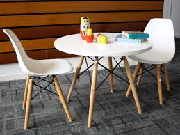 modern children table and two chairs set eames plastic molded and wooden iron frames adorable