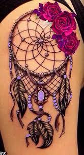 Purple Dream Catcher Tattoo Left hip uniquerosetattoo Popular Pins Pinterest Rose 76
