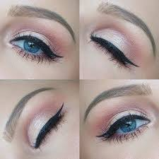 pink everyday makeup look for blue eyes