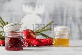 Decorated Jam Jars For Christmas Christmas Jam Jar With Festive Decoration On White Wooden 100