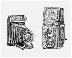 イラスト写真カメラ ヴィンテージスケッチやカット スタイルレトロな
