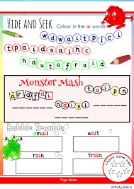 Say a sound and children identify the correct letter(s) by circling/colouring. Free Phonics Worksheets Activities Monster Phonics