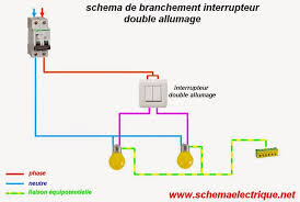 Schéma électrique Interrupteur Double Allumage   Branchement éclairage Par  Double Commande   Câblage Les Différents Types Des Interrupteurs Double  Allumage