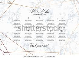 Wedding Seating Chart Poster Template Geometric Stock Vector