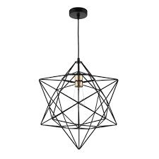 luanda wire star ceiling pendant light in black finish lua0122