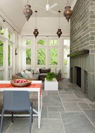 porch flooring ideas slate tile fireplace outdoor furniture