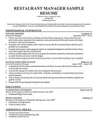 Sample Resume Of Restaurant Manager Restaurant Manager Resume
