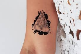 Peony Triangle Temporary Tattoos Floral Temporary Tattoo Peony Triangle Geometric Tattoo Drawn Peony Flower Tattoo Tattoo