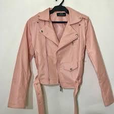 blush pink leather biker jacket women s fashion clothes outerwear on carou
