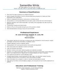 Generic Medical Assistant Resume Sample
