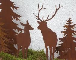 Hirsch Und Reh Silhouette Waldtiere Rusty Passion Edelrostdeko