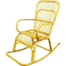 mid century bamboo and rattan rocking chair 1960s