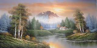 freehand 01 style of bob ross oil paintings