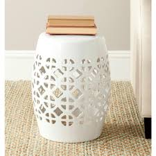 patio stool: circle lattice white ceramic patio stool