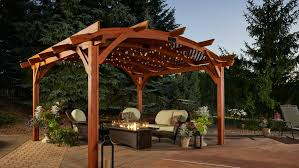 how much is a pergola cost range walnut lacquered finish wooden posts crossbeams arched rafters deck roof shade feature decoration with how much does it
