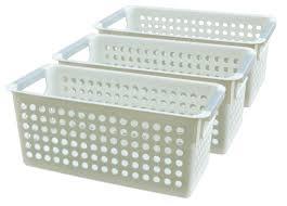 new basicwise white rectangular plastic shelf organizer basket with handles