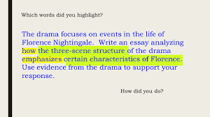 a closer look scored student examples this powerpoint the drama focuses on events in the life of florence nightingale