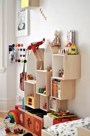 Modern Toy Storage With Some Toys And Bookshelf And Unique Storage