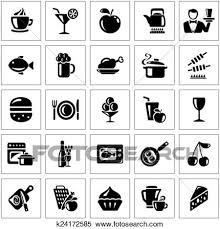 食物と飲み物 アイコン クリップアート切り張りイラスト絵画集