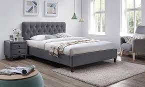 grey fabric bed frame groupon goods