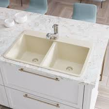 Rene Drop In Composite Granite 33 In Double Bowl Kitchen Sink In
