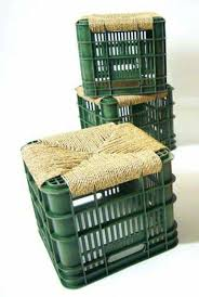 recycled old milk crates and turnover in stools