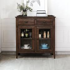 entrance cabinet solid wood sideboard solid wood wine cabinet with glass door walnut color tea cabinet