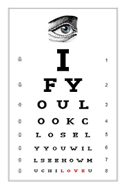 Dr Office Eye Chart Amazon Com Lucca Paperworks Eye Chart Love Card 5 X 7 1