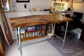 diy standing desk pipe. Delighful Standing Live Edge Standing Desk Throughout Diy Pipe