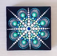 Canvas Design Ideas original blue mandala painting on canvas by createandcherish